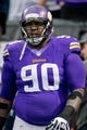 Dec 15, 2013; Minneapolis, MN, USA; Minnesota Vikings defensive tackle Fred Evans (90) runs drills in preparation for the game with the Philadelphia Eagles at Mall of America Field at H.H.H. Metrodome. The Vikings win 48-30. Mandatory Credit: Bruce Kluckhohn-USA TODAY Sports
