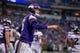 Dec 15, 2013; Minneapolis, MN, USA; Minnesota Vikings quarterback Matt Cassel (16) celebrates a touchdown against the Philadelphia Eagles in the fourth quarter at Mall of America Field at H.H.H. Metrodome. The Vikings win 48-30. Mandatory Credit: Bruce Kluckhohn-USA TODAY Sports
