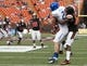 Dec 24, 2013; Honolulu, HI, USA; Boise State Broncos wide receiver Matt Miller (2) cannot hold onto a pass while being tackled by Oregon State Beavers cornerback Rashaad Reynolds (16) during the 2nd quarter of the 2013 Hawaii Bowl at Aloha Stadium. Mandatory Credit: Marco Garcia-USA TODAY Sports