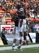 Dec 24, 2013; Honolulu, HI, USA; Oregon State Beavers running back Terron Ward (28) celebrates with receiver Brandin Cooks (7) after scoring a touchdown in the second quarter against Boise State Broncos at the 2013 Hawaii Bowl at Aloha Stadium. Mandatory Credit: Marco Garcia-USA TODAY Sports