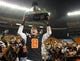 Dec 24, 2013; Honolulu, HI, USA; Oregon State Beavers wide receiver Richard Mullaney lifts the Hawaii Bowl trophy after the 2013 Hawaii Bowl against the Boise State Broncos at Aloha Stadium. Mandatory Credit: Marco Garcia-USA TODAY Sports