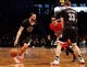Dec 25, 2013; Brooklyn, NY, USA;  Brooklyn Nets point guard Deron Williams (8) drives the ball during the third quarter against the Chicago Bulls at Barclays Center. Chicago Bulls won 95-78.  Mandatory Credit: Anthony Gruppuso-USA TODAY Sports
