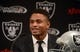 Dec 27, 2013; Alameda, CA, USA; Oakland Raiders former cornerback Nnamdi Asomugha announces his retirement at a press conference at Oakland Raiders Practice Facility. Mandatory Credit: Kirby Lee-USA TODAY Sports