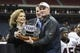 Dec 27, 2013; Houston, TX, USA; Syracuse Orange head coach Scott Shafer receives the Texas Bowl trophy after defeating Minnesota Golden Gophers 21-17at Reliant Stadium . Mandatory Credit: Troy Taormina-USA TODAY Sports