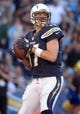 Dec 22, 2013; San Diego, CA, USA; San Diego Chargers quarterback Philip Rivers (17) throws a pass during the second half against the Oakland Raiders at Qualcomm Stadium. The Chargers won 26-13.Mandatory Credit: Kirby Lee-USA TODAY Sports