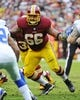 Dec 22, 2013; Landover, MD, USA; Washington Redskins guard Chris Chester (66) prepares to block against the Dallas Cowboys during the first half at FedEx Field. Mandatory Credit: Brad Mills-USA TODAY Sports