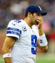 Oct 27, 2013; Detroit, MI, USA; Dallas Cowboys quarterback Tony Romo (9) during the game against the Detroit Lions at Ford Field. Mandatory Credit: Andrew Weber-USA TODAY Sports