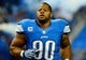 Oct 27, 2013; Detroit, MI, USA; Detroit Lions defensive tackle Ndamukong Suh (90) before the game against the Dallas Cowboys at Ford Field. Mandatory Credit: Andrew Weber-USA TODAY Sports