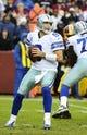 Dec 8, 2013; Landover, MD, USA; Dallas Cowboys quarterback Tony Romo (9) prepares to pass against the Washington Redskins during the second half at FedEx Field. Mandatory Credit: Brad Mills-USA TODAY Sports