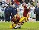 Dec 8, 2013; Landover, MD, USA; Washington Redskins place kicker Kai Forbath (2) kicks a field goal against the Dallas Cowboys during the second half at FedEx Field. Mandatory Credit: Brad Mills-USA TODAY Sports