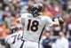 Dec 22, 2013; Houston, TX, USA; Denver Broncos quarterback Peyton Manning (18) attempts a pass during the first quarter against the Houston Texans at Reliant Stadium. Mandatory Credit: Troy Taormina-USA TODAY Sports
