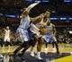 Dec 28, 2013; Memphis, TN, USA; Memphis Grizzlies power forward James Johnson (3) is guarded by Denver Nuggets point guard Ty Lawson (3) during the second quarter at FedExForum. Mandatory Credit: Justin Ford-USA TODAY Sports