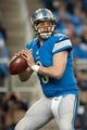 Dec 16, 2013; Detroit, MI, USA; Detroit Lions quarterback Matthew Stafford (9) passes during the game against the Baltimore Ravens at Ford Field. Mandatory Credit: Tim Fuller-USA TODAY Sports
