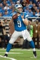 Dec 16, 2013; Detroit, MI, USA; Detroit Lions quarterback Matthew Stafford (9) during the game against the Baltimore Ravens at Ford Field. Mandatory Credit: Tim Fuller-USA TODAY Sports