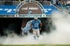 Dec 16, 2013; Detroit, MI, USA; Detroit Lions guard Rob Sims (67) is announced prior to the start against the Baltimore Ravens at Ford Field. Mandatory Credit: Tim Fuller-USA TODAY Sports