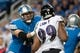 Dec 16, 2013; Detroit, MI, USA; Detroit Lions offensive tackle Riley Reiff (71) blocks Baltimore Ravens defensive end Chris Canty (99) during the game at Ford Field. Mandatory Credit: Tim Fuller-USA TODAY Sports