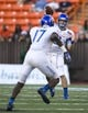 Dec 24, 2013; Honolulu, HI, USA; Boise State Broncos quarterback Grant Hedrick (9) makes a pass to Boise State Broncos wide receiver Geraldo Boldewijn (17) at the 2013 Hawaii Bowl against Oregon State Beavers at Aloha Stadium. Mandatory Credit: Marco Garcia-USA TODAY Sports