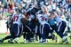 Dec 29, 2013; Nashville, TN, USA; The Houston Texans defensive squad swarms Tennessee Titans running back Chris Johnson (not shown) during the second half at LP Field. The Titans won 16-10. Mandatory Credit: Don McPeak-USA TODAY Sports