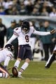 Dec 22, 2013; Philadelphia, PA, USA; Chicago Bears place kicker Robbie Gould (9) kicks a field goal during the second quarter against the Philadelphia Eagles at Lincoln Financial Field. The Eagles defeated the Bears 54-11. Mandatory Credit: Howard Smith-USA TODAY Sports