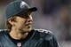 Dec 22, 2013; Philadelphia, PA, USA; Philadelphia Eagles quarterback Nick Foles (9) along the sidelines during the fourth quarter against the Chicago Bears at Lincoln Financial Field. The Eagles defeated the Bears 54-11. Mandatory Credit: Howard Smith-USA TODAY Sports