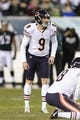 Dec 22, 2013; Philadelphia, PA, USA; Chicago Bears place kicker Robbie Gould (9) lines up a field goal attempt during the second quarter against the Philadelphia Eagles at Lincoln Financial Field. The Eagles defeated the Bears 54-11. Mandatory Credit: Howard Smith-USA TODAY Sports
