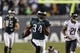 Dec 22, 2013; Philadelphia, PA, USA; Philadelphia Eagles running back Bryce Brown (34) carries the ball during the fourth quarter against the Chicago Bears at Lincoln Financial Field. The Eagles defeated the Bears 54-11. Mandatory Credit: Howard Smith-USA TODAY Sports
