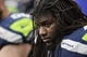 Dec 29, 2013; Seattle, WA, USA; Seattle Seahawks guard James Carpenter (77) sits on the bench during the fourth quarter against the St. Louis Rams at CenturyLink Field. Mandatory Credit: Joe Nicholson-USA TODAY Sports