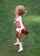 Dec 29, 2013; Phoenix, AZ, USA; An Arizona Cardinals cheerleader performs against the San Francisco 49ers at University of Phoenix Stadium. The 49ers defeated the Cardinals 23-20. Mandatory Credit: Mark J. Rebilas-USA TODAY Sports