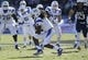 Dec 30, 2013; Fort Worth, TX, USA;  Middle Tennessee Blue Raiders wide receiver Kyle Griswould (9) runs after making a catch in the first quarter against the Navy Midshipmen at Amon G. Carter Stadium. Mandatory Credit: Tim Heitman-USA TODAY Sports