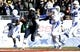 Dec 30, 2013; Fort Worth, TX, USA;  Navy Midshipmen running back DeBrandon Sanders (21) runs for a touchdown in the fourth quarter of the game against Middle Tennessee Blue Raiders cornerback Sammy Seamster (8) at Amon G. Carter Stadium. Mandatory Credit: Tim Heitman-USA TODAY Sports