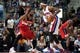 Dec 30, 2013; Auburn Hills, MI, USA; Washington Wizards power forward Nene Hilario (42) guards Detroit Pistons small forward Josh Smith (6) during the fourth quarter at The Palace of Auburn Hills. Washington won 106-99. Mandatory Credit: Tim Fuller-USA TODAY Sports