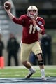 Dec 31, 2013; Shreveport, LA, USA; Boston College Eagles quarterback Chase Rettig (11) throws a pass in the first half against the Arizona Wildcats at Independence Stadium. Arizona defeated Boston College 42-19. Mandatory Credit: Crystal LoGiudice-USA TODAY Sports