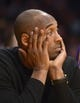 Dec 31, 2013; Los Angeles, CA, USA; Los Angeles Lakers guard Kobe Bryant (24) reacts in the fourth quarter against the Milwaukee Bucks at Staples Center. The Bucks defeated the Lakers 94-79. Mandatory Credit: Kirby Lee-USA TODAY Sports