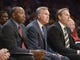 Dec 31, 2013; Los Angeles, CA, USA; Los Angeles Lakers coach Mike D'Antoni (center) and assistant coaches Johnny Davis (left) and Kurt Rambis watch during the game against the Milwaukee Bucks at Staples Center. The Bucks defeated the Lakers 94-79. Mandatory Credit: Kirby Lee-USA TODAY Sports
