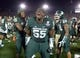 Jan 1, 2014; Pasadena, CA, USA; Michigan State Spartans defensive tackle Devyn Salmon (55) celebrates during the 100th Rose Bowl against the Stanford Cardinal. Michigan State defeated Stanford 24-20. Mandatory Credit: Kirby Lee-USA TODAY Sports