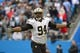 Dec 22, 2013; Charlotte, NC, USA; New Orleans Saints defensive end Cameron Jordan (94) reacts in the second quarter at Bank of America Stadium. Mandatory Credit: Bob Donnan-USA TODAY Sports