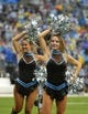 Dec 22, 2013; Charlotte, NC, USA; Carolina Panthers cheerleaders perform in the fourth quarter. The Panthers defeated the Saints 17-13 at Bank of America Stadium. Mandatory Credit: Bob Donnan-USA TODAY Sports