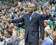 Jan 2, 2014; Salt Lake City, UT, USA; Milwaukee Bucks head coach Larry Drew signals to his players during the first half against the Utah Jazz at EnergySolutions Arena. Mandatory Credit: Russ Isabella-USA TODAY Sports