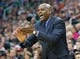 Jan 2, 2014; Salt Lake City, UT, USA; Milwaukee Bucks head coach Larry Drew reacts during the second half against the Utah Jazz at EnergySolutions Arena. The Jazz won 96-87. Mandatory Credit: Russ Isabella-USA TODAY Sports