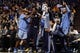 Jan 2, 2014; Phoenix, AZ, USA; Memphis Grizzlies bench reacts against the Phoenix Suns in the second half at US Airways Center.  The Grizzlies won 99-91. Mandatory Credit: Jennifer Stewart-USA TODAY Sports
