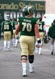 Dec 21, 2013; Albuquerque, NM, USA; Colorado State Rams offensive lineman Weston Richburg (70) against the Washington State Cougars during the Gildan New Mexico Bowl at University Stadium. Mandatory Credit: Mark J. Rebilas-USA TODAY Sports