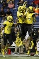 Jan 4, 2014; San Antonio, TX, USA; West defensive back Davion Hall (34) celebrates his interception with his teammates during U.S. Army All-American Bowl high school football game at the Alamodome. The West won 28-6. Mandatory Credit: Soobum Im-USA TODAY Sports