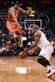 Jan 4, 2014; Phoenix, AZ, USA; Phoenix Suns forward P.J. Tucker (17) steals the ball from Milwaukee Bucks guard Giannis Antetokounmpo (34) in the first half at US Airways Center. Mandatory Credit: Jennifer Stewart-USA TODAY Sports