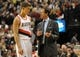 Jan. 04, 2014; Portland, OR, USA; Portland Trail Blazers head coach Terry Stotts talks with Portland Trail Blazers center Meyers Leonard (11) during the third quarter of the game against the Philadelphia 76ers at the Moda Center. The Sixers won the game 101-99. Mandatory Credit: Steve Dykes-USA TODAY Sports