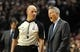 Jan. 04, 2014; Portland, OR, USA; Philadelphia 76ers head coach Brett Brown talks with referee Gary Zielinski (59) during the third quarter of the game against the Portland Trail Blazers at the Moda Center. The Sixers won the game 101-99. Mandatory Credit: Steve Dykes-USA TODAY Sports