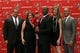 Jan 6, 2014; Tampa, FL, USA; Tampa Bay Buccaneers head coach Lovie Smith poses with wife MaryAnne Smith and family during a press conference at One Buccaneer Place. Mandatory Credit: Kim Klement-USA TODAY Sports