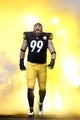Dec 29, 2013; Pittsburgh, PA, USA; Pittsburgh Steelers defensive end Brett Keisel (99) reacts as he takes the field before the game against the Cleveland Browns at Heinz Field. The Steelers won 20-7. Mandatory Credit: Charles LeClaire-USA TODAY Sports