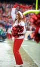 Dec 22, 2013; Kansas City, MO, USA; A Kansas City Chiefs cheerleader performs for the crowd during the game against the Indianapolis Colts at Arrowhead Stadium. The Colts won 23-7. Mandatory Credit: Denny Medley-USA TODAY Sports