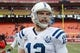 Dec 22, 2013; Kansas City, MO, USA; Indianapolis Colts quarterback Andrew Luck (12) walks off the field after the game against the Kansas City Chiefs at Arrowhead Stadium. The Colts won 23-7. Mandatory Credit: Denny Medley-USA TODAY Sports