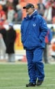 Dec 22, 2013; Kansas City, MO, USA; Indianapolis Colts head coach Chuck Pagano watches the team warm up before the game against the Kansas City Chiefs at Arrowhead Stadium. The Colts won 23-7. Mandatory Credit: Denny Medley-USA TODAY Sports